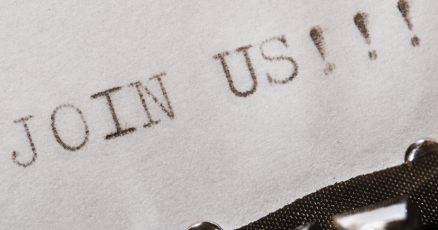 Join Us typed on paper
